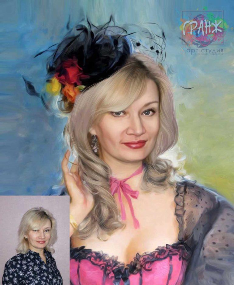 Заказать арт портрет по фото на холсте в Москве