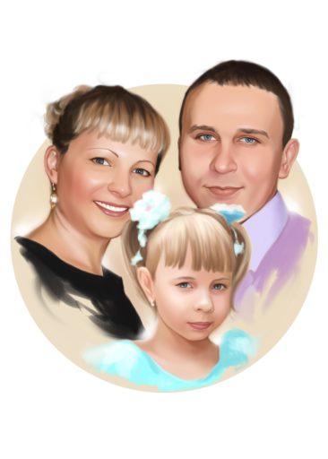 Семейный портрет по фото на холсте в Москве — правильный подарок!